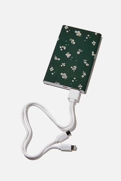 Printed Charge It Charger, DOTTIE FLORAL DEEP GREEN