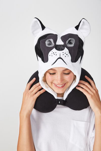 Travel Neck Pillow with Hood, NOVELTY FRENCHIE