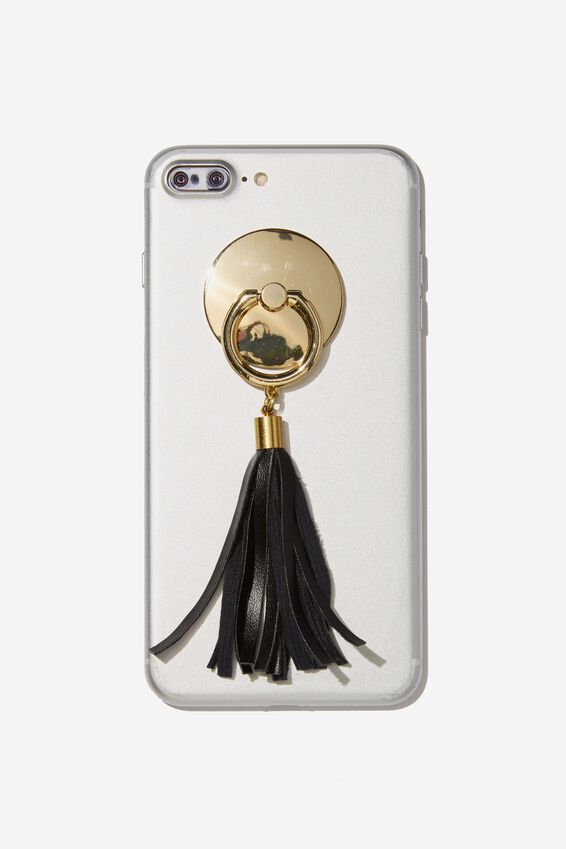 Phone Ring Charm, BLACK TASSELL