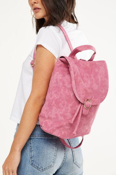 Pacific Backpack, SUNFLOWER TOOLED RASPBERRY