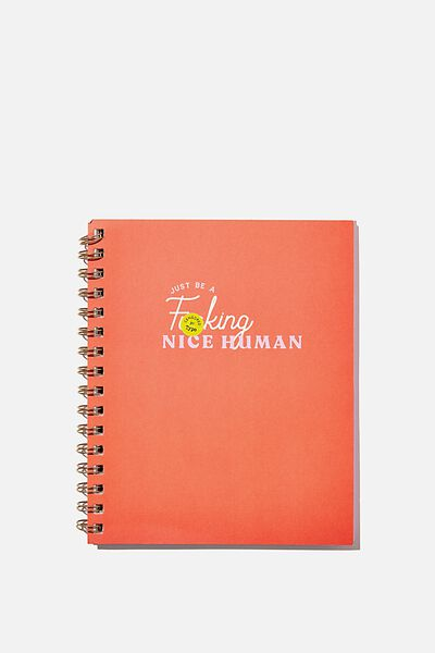 A5 Campus Notebook Recycled, ORANGE NICE HUMAN!!