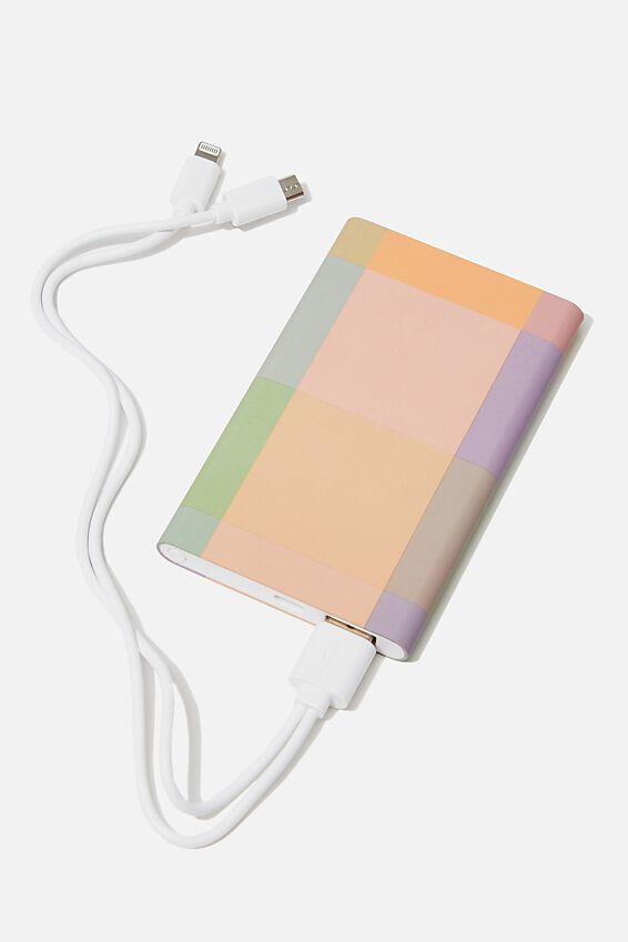 Printed Charge It Charger, RAINBOW CHECK