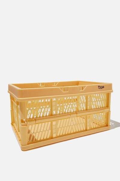 Midi Foldable Storage Crate, WASHED MUSTARD