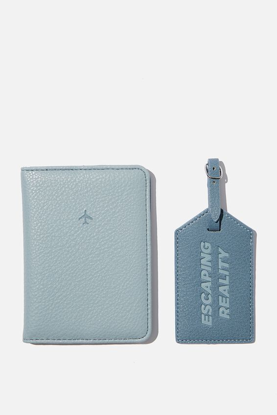 Rfid Passport & Luggage Tag Set, PETROL BLUE MIX ESCAPING REALITY