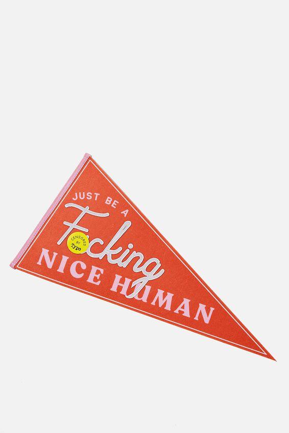 Pennant Wall Flag, F###ING! NICE HUMAN!!