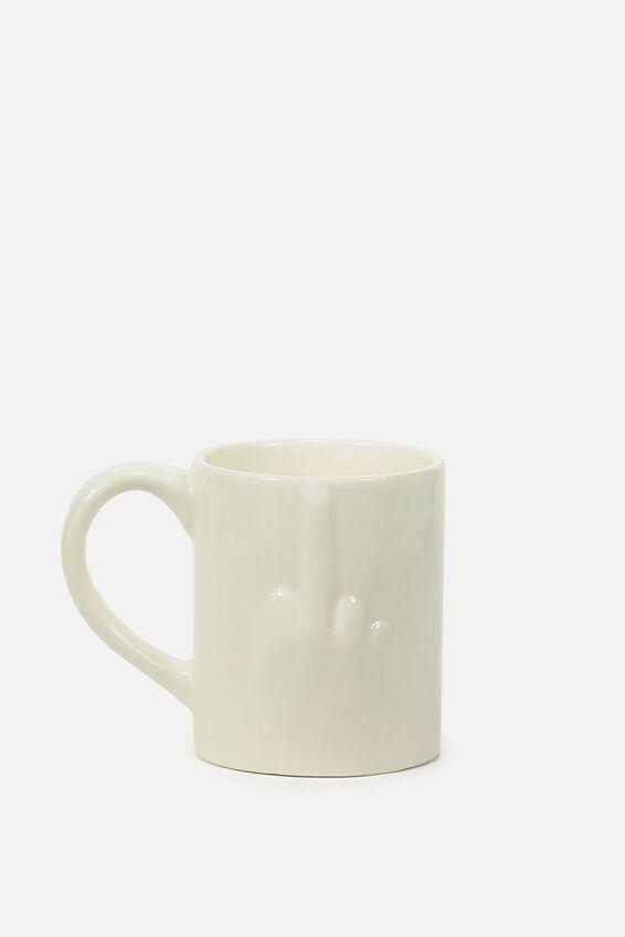 Novelty Shaped Mug, PRESS  OUT MIDDLE FINGER!