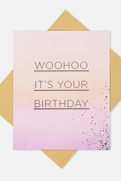 Nice Birthday Card, WOOHOO WATERCOLOUR GRADIENT