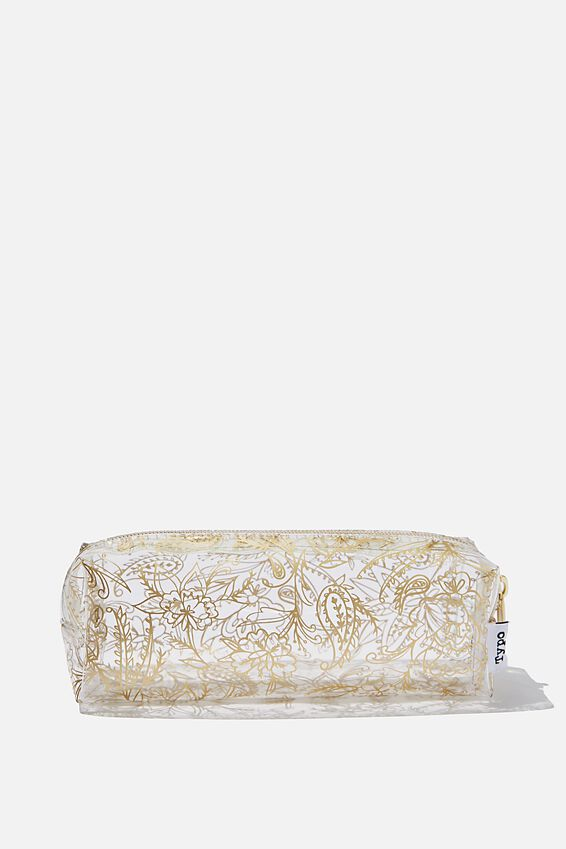 Clear Bailey Pencil Case, GOLD PAISLEY