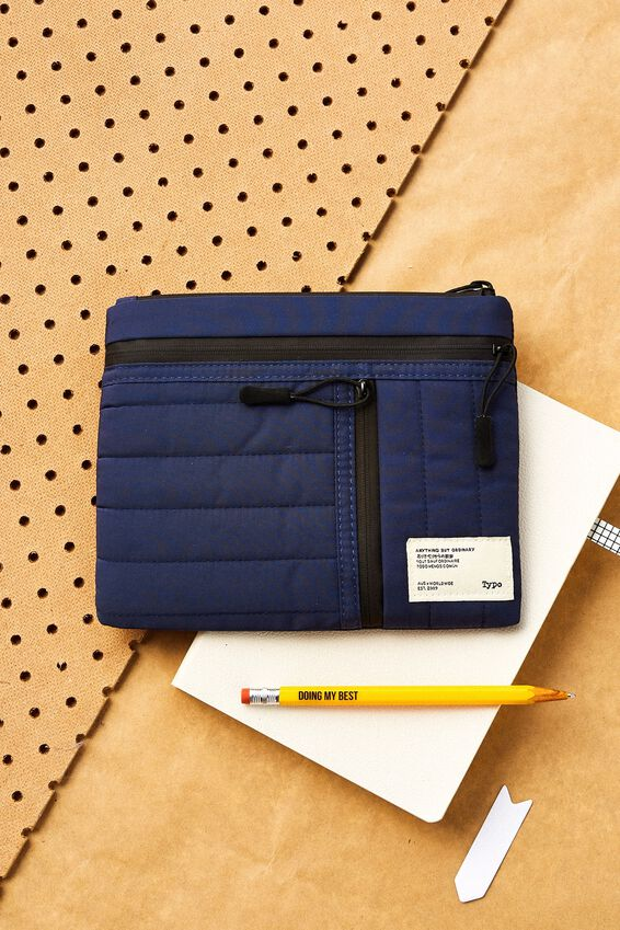 Utility Pencil Case, NAVY & RED