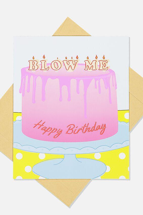 Premium Funny Birthday Card, SCENT BLOW ME CAKE