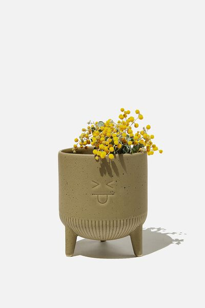 Midi Shaped Planter, KHAKI SPECKLE FACE