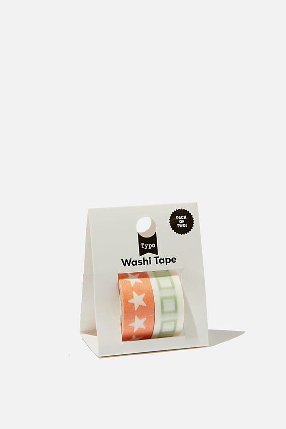 Washi Tape 2Pk, STARS & SQUARES