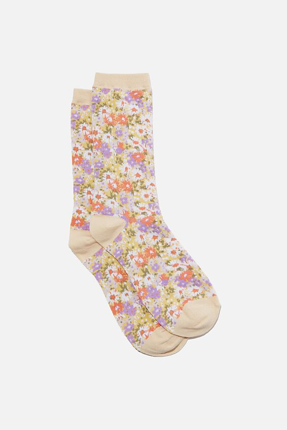 Socks, WASHED MUSTARD DITSY FLORAL