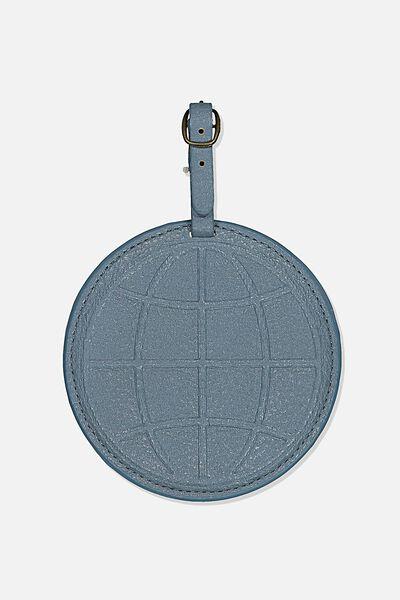 Shape Shifter Bag Tag, PETROL BLUE GLOBE