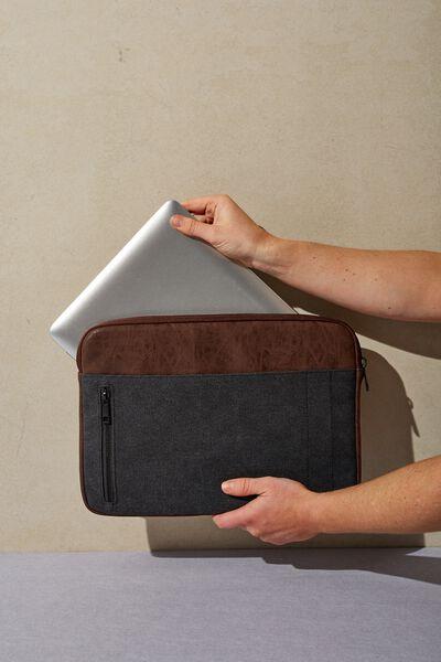 Take Charge 15 Inch Laptop Cover, BLACK & RICH TAN