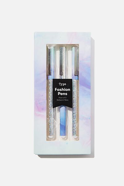 Flash Fash 3 Pk Pens, HOLOGRAPHIC