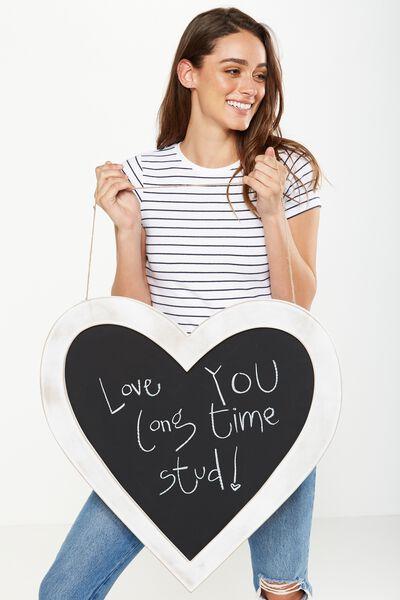 Large Heart Blackboard, WHITE WASH