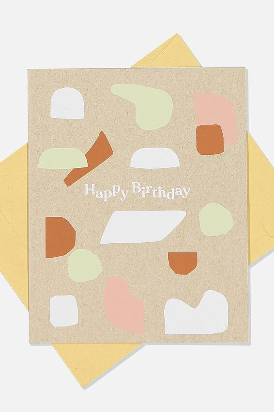 Nice Birthday Card, GREY CRAFT ABSTRACT SHAPES