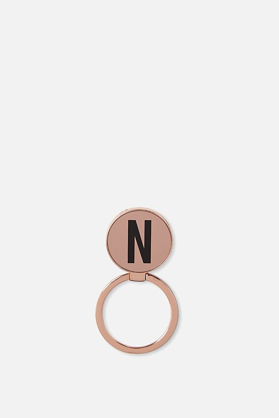 Metal Alpha Phone Ring, ROSE GOLD N