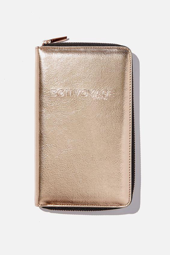 Rfid Odyssey Travel Compendium Wallet, BON VOYAGE ROSE GOLD!