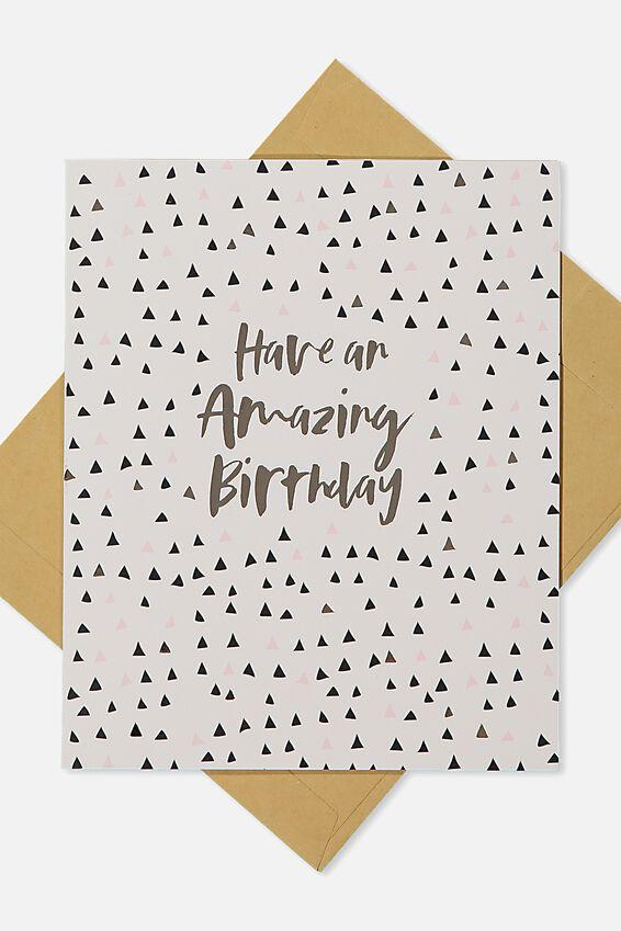 Nice Birthday Card, AMAZING BIRTHDAY GOLD POLKA