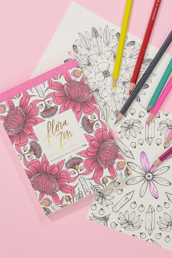 Post Card Colouring Book, FLORAL ZEN