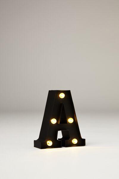 Mini Marquee Letter Lights 10cm, BLACK RUBBER A