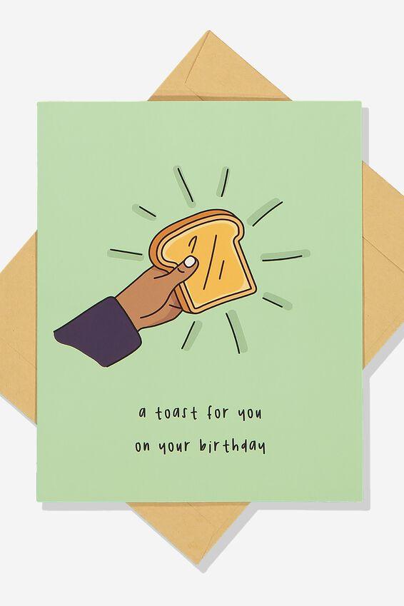 Premium Funny Birthday Card, SCENTED BIRTHDAY TOAST