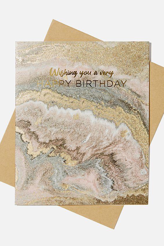 Nice Birthday Card, GLITZ MARBLE SAND