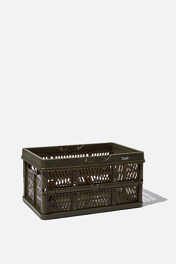 Small Foldable Storage Crate, KHAKI