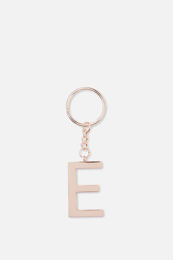 Alphabet Keyring, ROSE GOLD E
