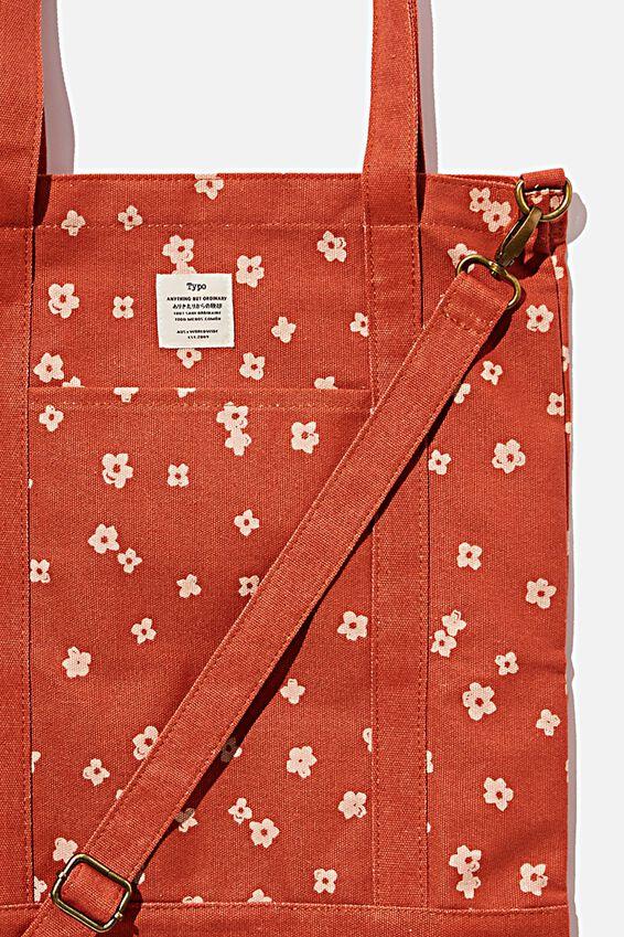 Book Tote Bag, CHARLIE FLORAL RUST