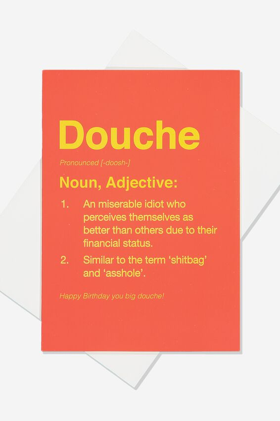 Funny Birthday Card, SMALL DOUCHE DEFINITION