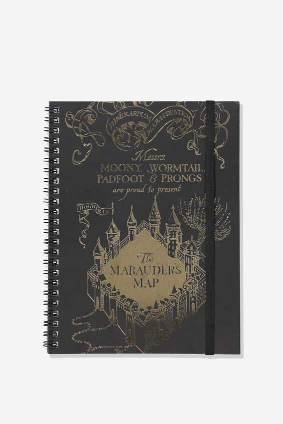 A5 Harry Potter Spinout Notebook - 120 Pages, LCN HP MARAUDERS MAP FOIL