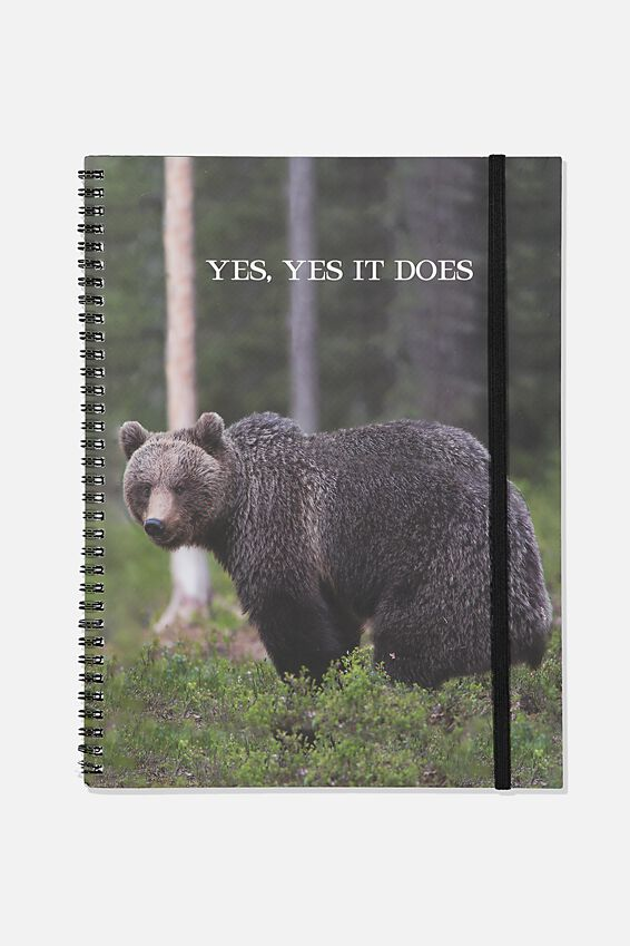 A4 Spinout Notebook Recycled, TBAR BEAR IN THE WOODS