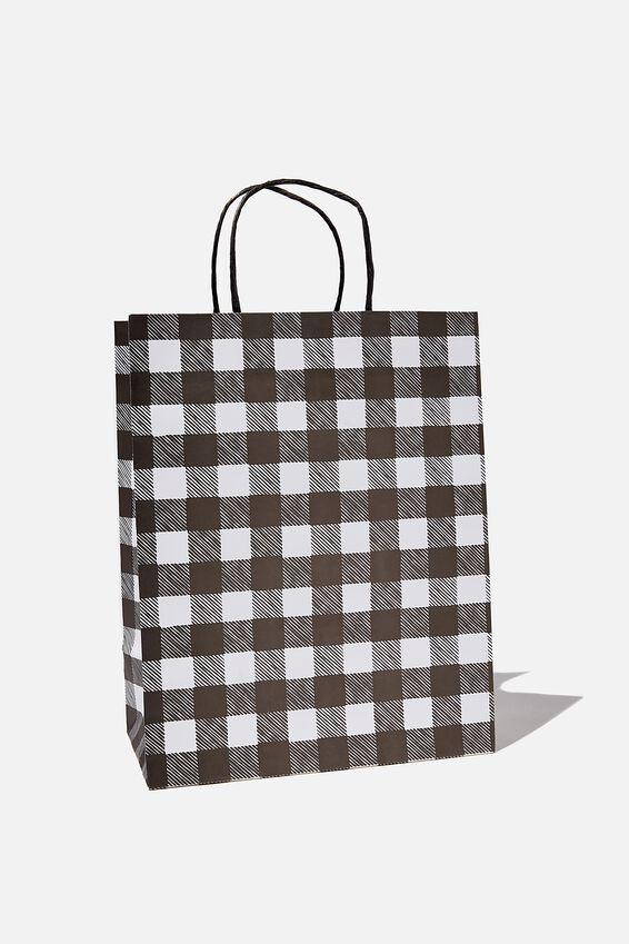 Get Stuffed Gift Bag - Medium, BLACK WHITE GINGHAM