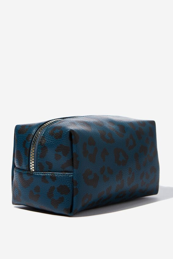 Made Up Cosmetic Bag, TEAL LEOPARD