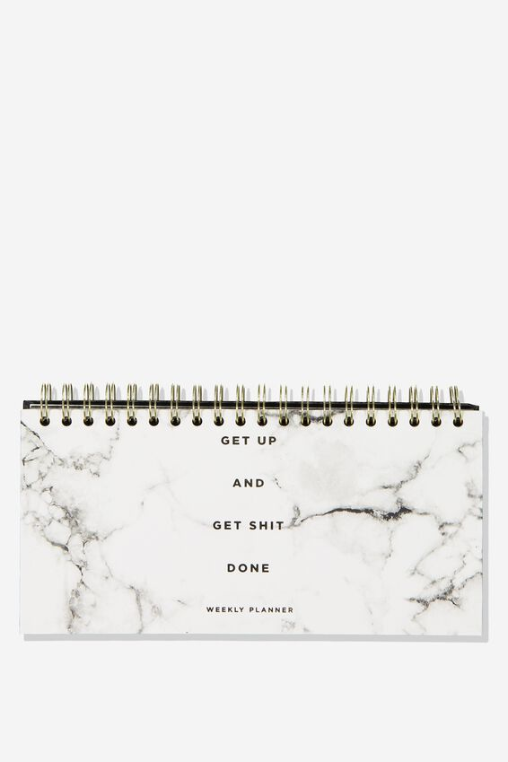 Desk Planner, WHITE MARBLE GET SHIT DONE!