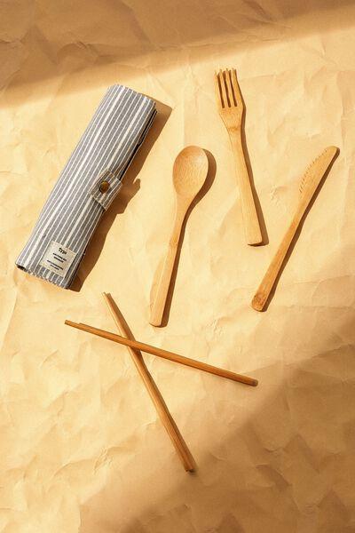 Cut My Lunch Cutlery Roll, BRAD STRIPE