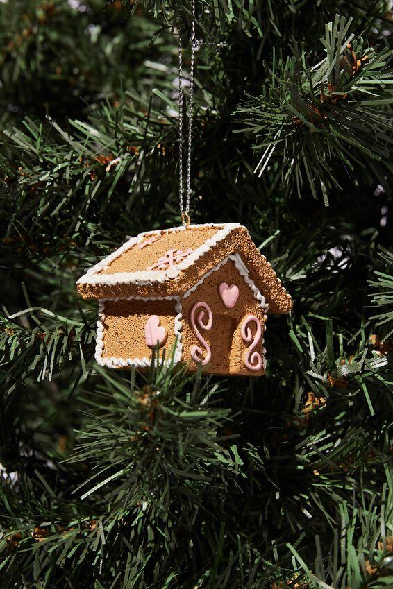 Resin Christmas Ornament, GINGERBREAD HOUSE