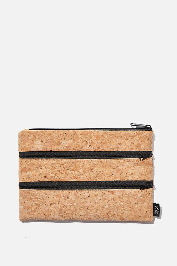Double Archer Pencil Case, CORK