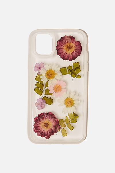 Protective Phone Case iPhone 11, TRAPPED DAISY WITH PINK & PURPLE FLOWERS