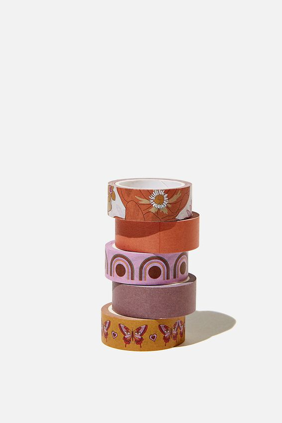 Washi Tape 5Pk, ORANGE AND PINK STEVIE FLORAL