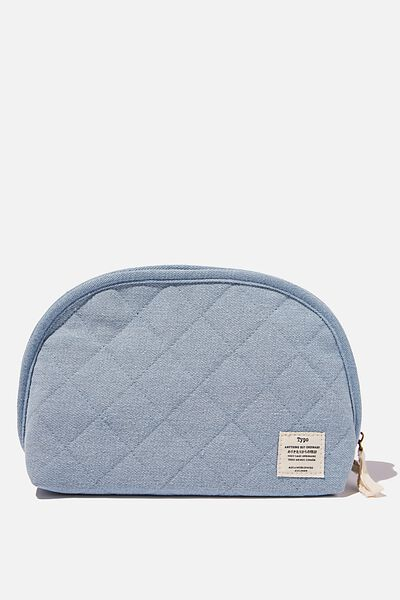 Denim Essential Pouch, QUILTED DENIM