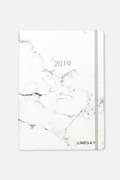 Personalised 2019 A5 Daily Buffalo Diary, GREY MARBLE