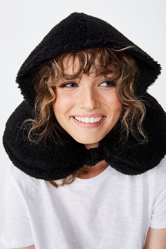 Travel Neck Pillow with Hood, BLACK TEDDY FUR