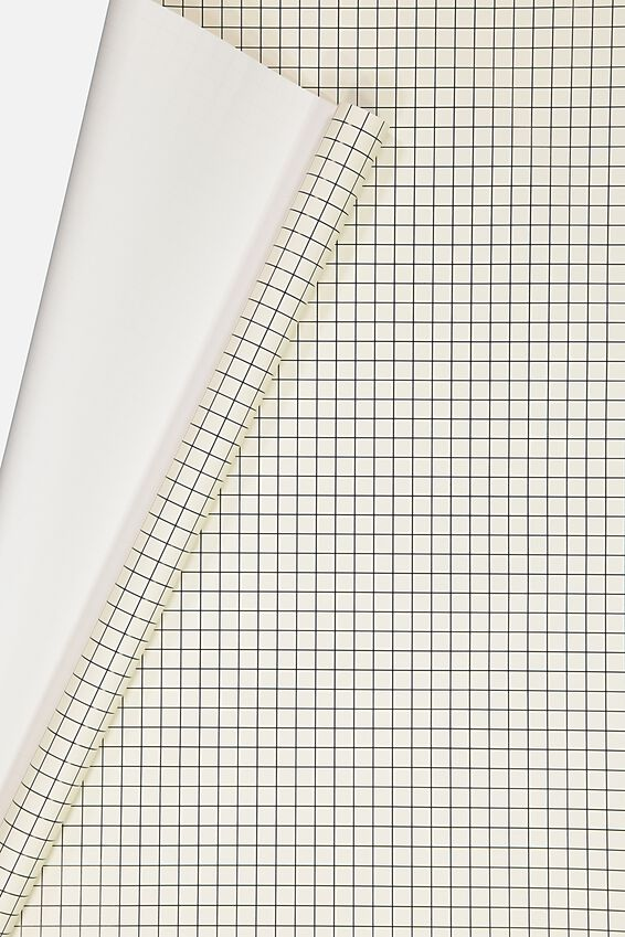 Roll Wrapping Paper, BLACK WHITE GRID