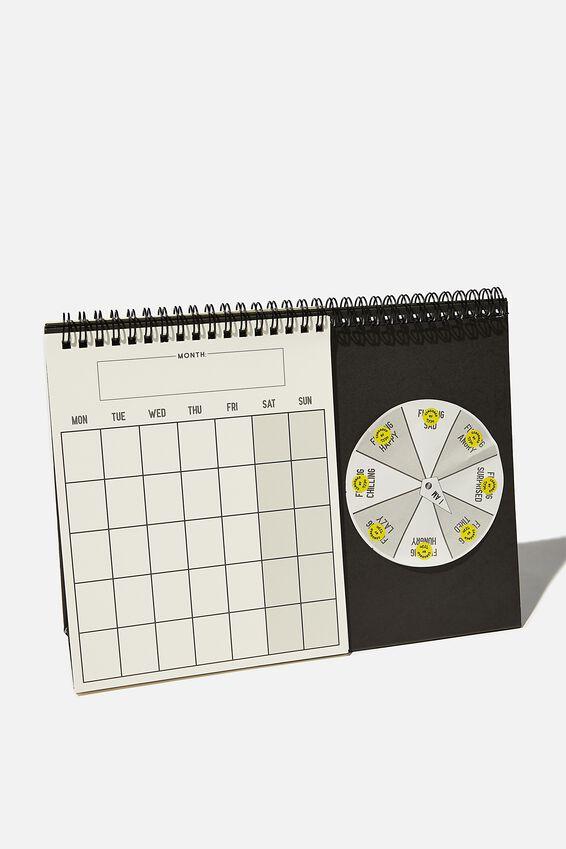 Undated Spin My Wheel Calendar, BLACK WHITE F**KING!!