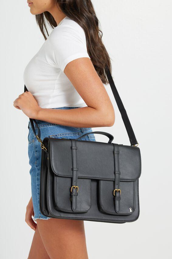 Buffalo Satchel Bag, BLACK