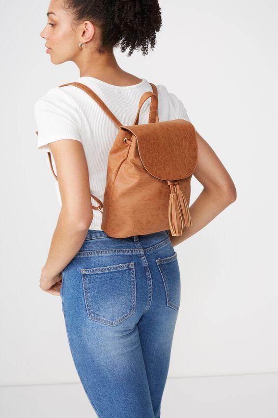 Drawstring Backpack, MID TAN FLORAL
